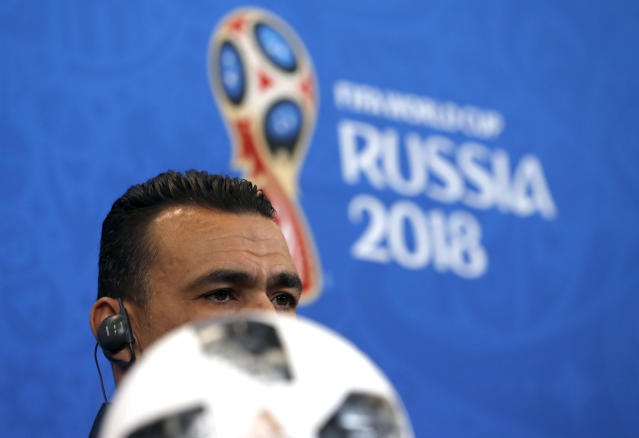 Egypt goalkeeper Essam El Hadary listens to a question during a press conference on the eve of the group A match between Saudi Arabia and Egypt at the 2018 soccer World Cup in the Volgograd Arena, in Volgograd, Russia, Sunday, June 24, 2018. (AP Photo/Darko Vojinovic)