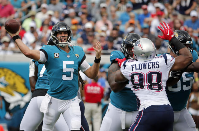 Jacksonville Jaguars quarterback Blake Bortles (5) will start the team's next game, despite being benched on Sunday. (AP)