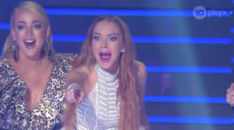 A photo of The Masked Singer judge Lindsay Lohan in the grand finale.