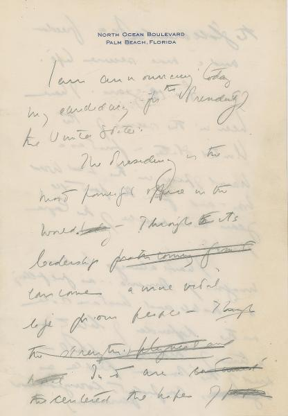 This December 2019, image released by RR Auction shows the first page of a handwritten draft of the 1960 speech by John F. Kennedy announcing his intention to run for president. The draft is among hundreds of items associated with the late president to be auctioned in January 2020, by the Boston-based auction firm. (Nikki Brickett/RR Auction via AP)