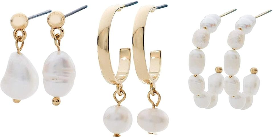 <p>The <span>Stella & Haas 'Tis The Season Huggie Set</span> ($30) are perfect for pearl-lovers.</p>