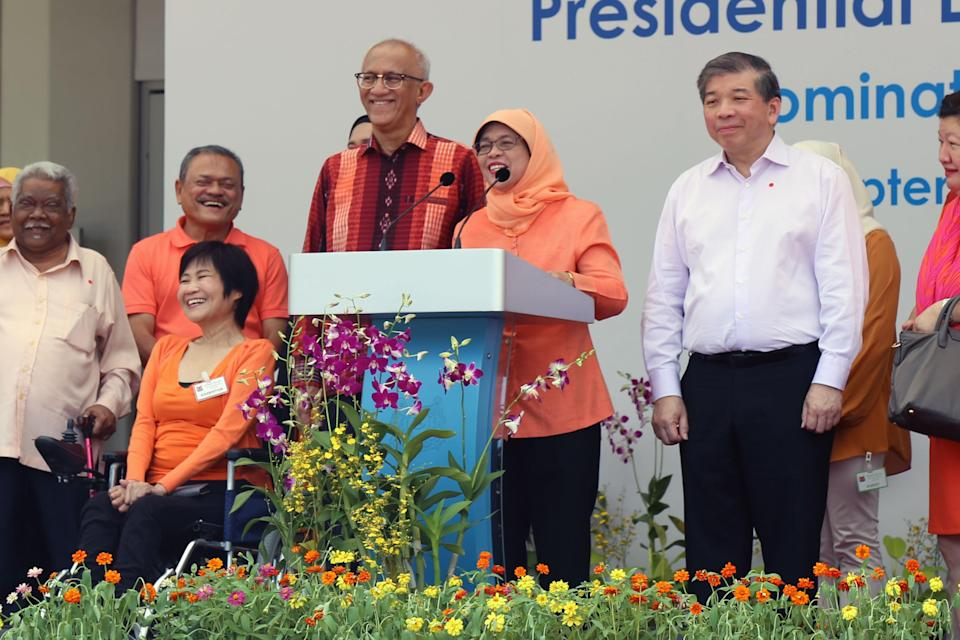 President-elect Halimah Yacob speaking at the Nomination Centre in King George's Avenue on 13 September 2017 after she was declared as Singapore's next President. (Photo: Dhany Osman/Yahoo News Singapore)
