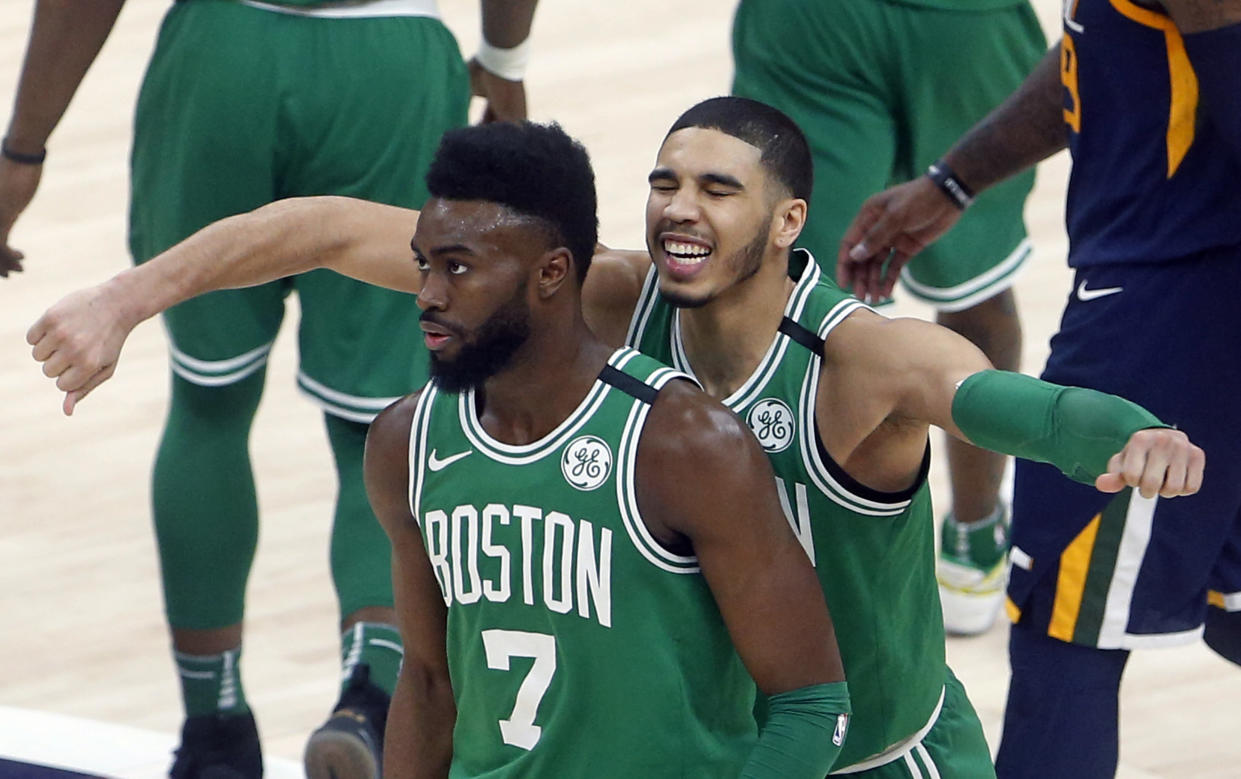 Jaylen Brown and the Celtics dug out another unlikely win Wednesday when his last-second three sunk the desperate Jazz in Utah. (AP)