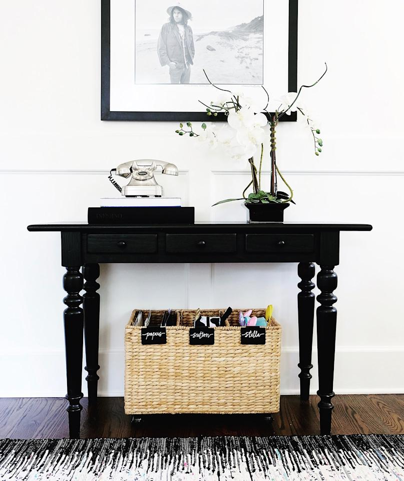 """<p>Scrolling through the <a href=""""https://www.instagram.com/thehomeedit/"""" target=""""_blank"""">Instagram account</a> of Nashville-based home organizing company <a href=""""http://www.thehomeedit.com/"""" target=""""_blank"""">The Home Edit</a> has us dreaming of neatly organized kitchen drawers and color-coded toy bins. So when we wanted expert advice on tackling the messiest areas around the house, we knew The Home Edit founders, Clea Shearer and Joanna Teplin, would have some stylish solutions up their sleeves.</p> <p> The first clutter zone to conquer: the entryway. As the entrance to your home, it's a drop zone for mail and shoes, but since this area is also the first spot visitors see, it should make a good impression. To corral the chaos, The Home Edit team reaches for baskets. """"If you have the space, give each family member their own basket. Alternatively, a divided basket helps store everyone's items while separating them at the same time,"""" Shearer says. Tucked beneath a bench or console, they contain the mess while keeping up appearances.</p>"""
