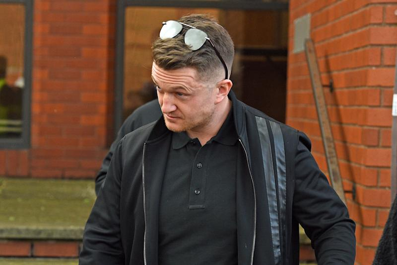 Tommy Robinson leaving Luton Magistrates' Court, Bedfordshire, following a civil proceeding brought by Bedfordshire Police to decide if he should face a football banning order, which would see him banned from all England games at home or abroad. (Photo by Kirsty O'Connor/PA Images via Getty Images)