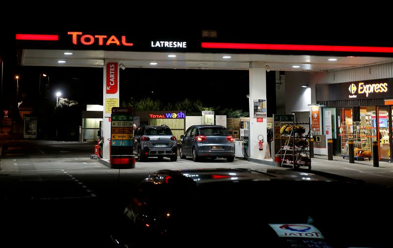 FILE PHOTO: A petrol station of French oil giant Total is pictured in Latresne near Bordeaux