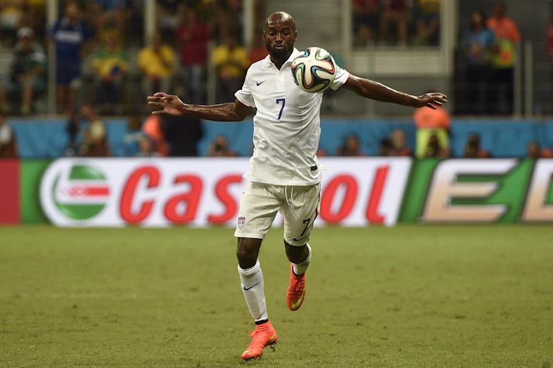 US defender DaMarcus Beasley controls the ball during the World Cup match against Belgium in Salvador on July 1, 2014