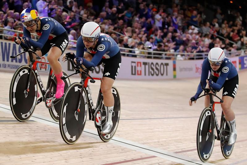 Members of the US team win Gold in the Womens Team Pursuit Finals at the UCI track cycling World Championship at the velodrome in Berlin on February 27 2020 Photo by Odd ANDERSEN AFP Photo by ODD ANDERSENAFP via Getty Images