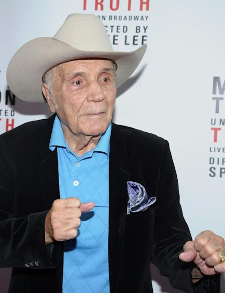 "Former boxer Jake LaMotta at the 2012 opening of ""Mike Tyson: Undisputed Truth"" on Broadway"