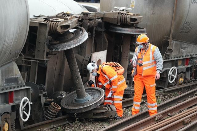 Engineers inspect the damage at the scene in Sheffield (Danny Lawson/PA)