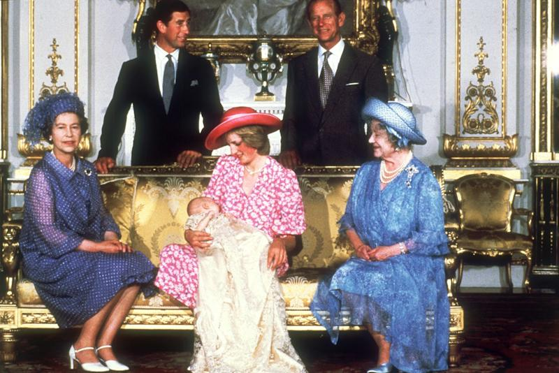 Prince William was born on June 21, 1982. Here he poses at his christening ceremony with Princess Diana, Prince Charles, Prince Philip, Queen Elizabeth II, and Queen Elizabeth the Queen Mother.