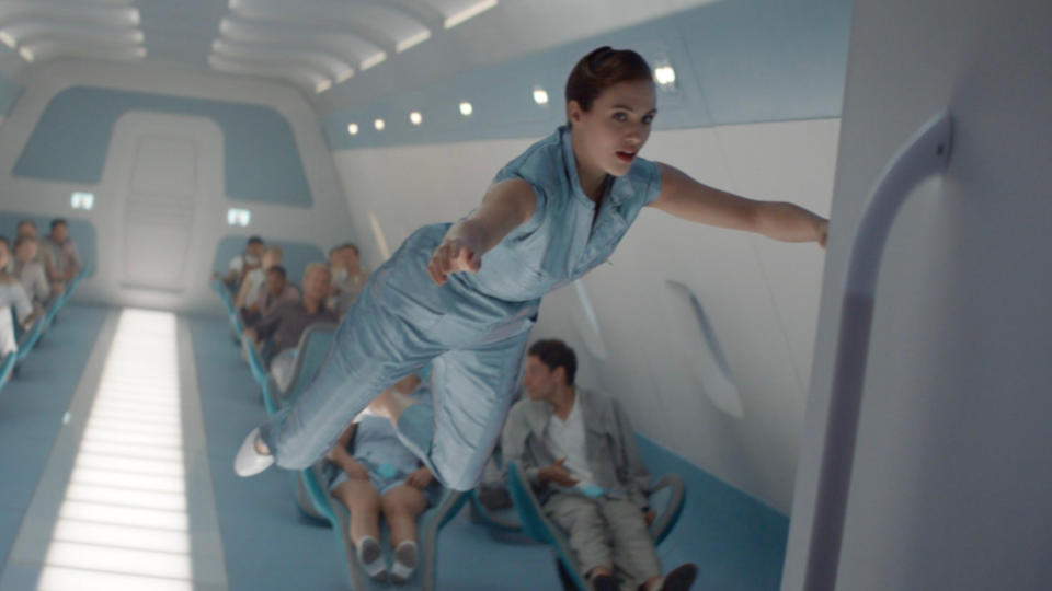 Jessica Brown Findlay experiences weightlessness in 'Brave New World'. (Credit: Sky/Peacock)