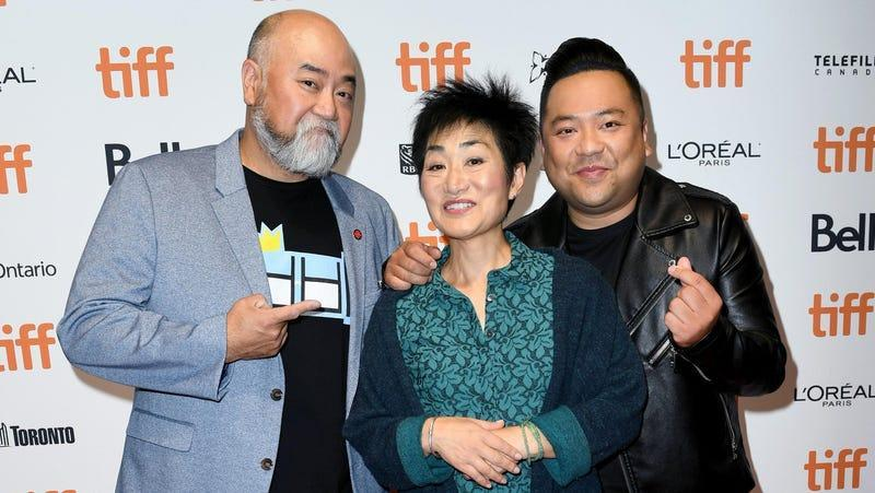 Jean Yoon with Kim's Convenience co-stars Paul Sun-Hyung Lee and Andrew Phung at the 2019 Toronto International Film Festival in 2019.