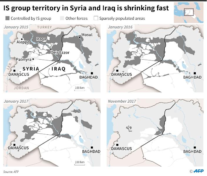 Maps of Syria and Iraq showing loss of territory by Islamic State (IS)group since January 2015 (AFP Photo/Simon MALFATTO)