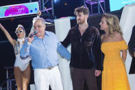 Lee Brian Schrager, from left, Giada De Laurentiis, and Drew Taggart attend SOBEWFF® 20th Anniversary Celebration at Fontainebleau Hotel on Thursday, May 20, 2021, in Miami Beach, Fla. (Photo by Scott Roth/Invision/AP)