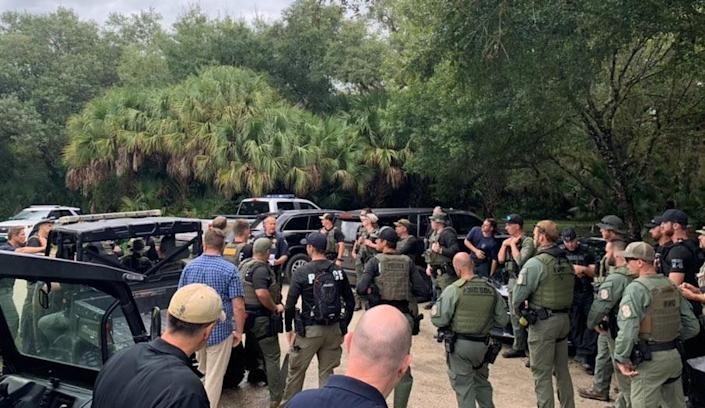 Members of the North Port Police Department gather to search for Brian Laundrie on September 18, 2021. / Credit: North Port Police Department