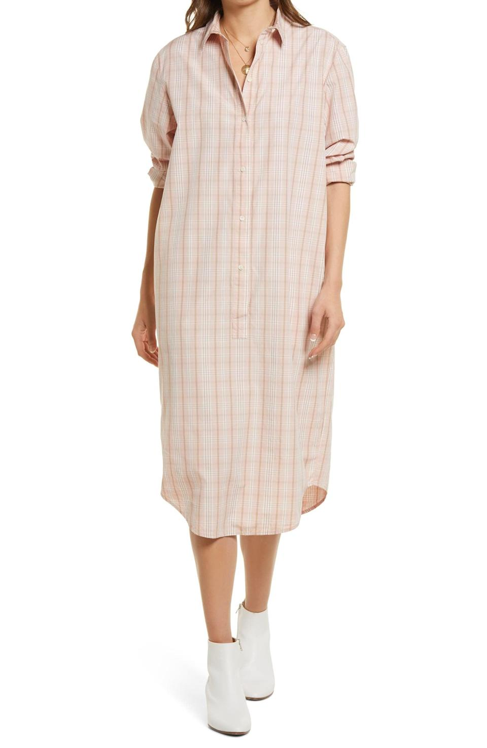 <p>The relaxed silhouette and roomy look of this <span>Treasure &amp; Bond Plaid Long Sleeve Poplin Shirtdress</span> ($40, originally $79) make it a great pick for lazy days when you'd still like to look put-together. The soft, plaid print makes it stand out.</p>