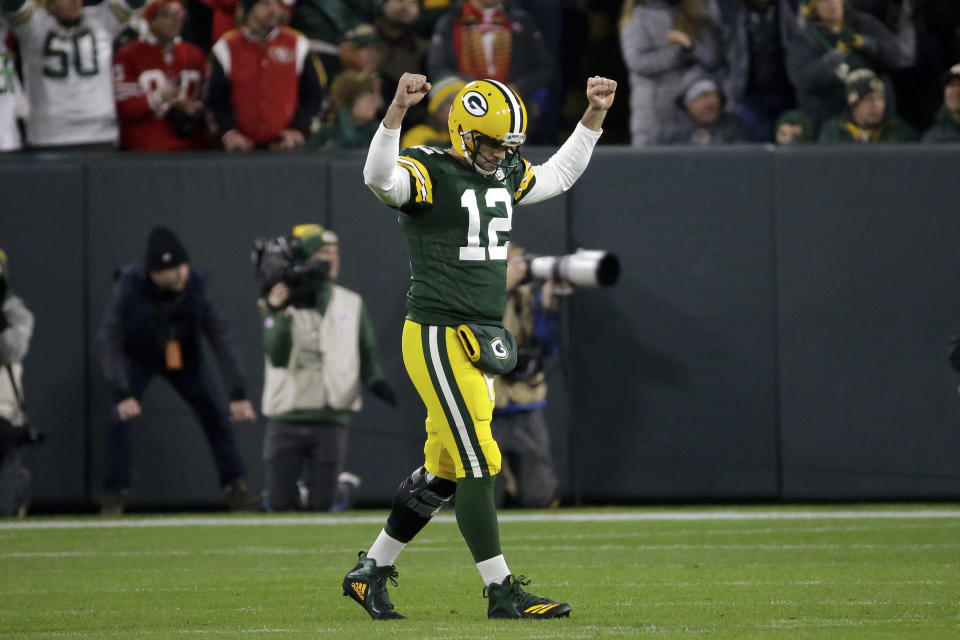 Green Bay Packers quarterback Aaron Rodgers (12) led a dramatic last-second win over the 49ers. (AP)
