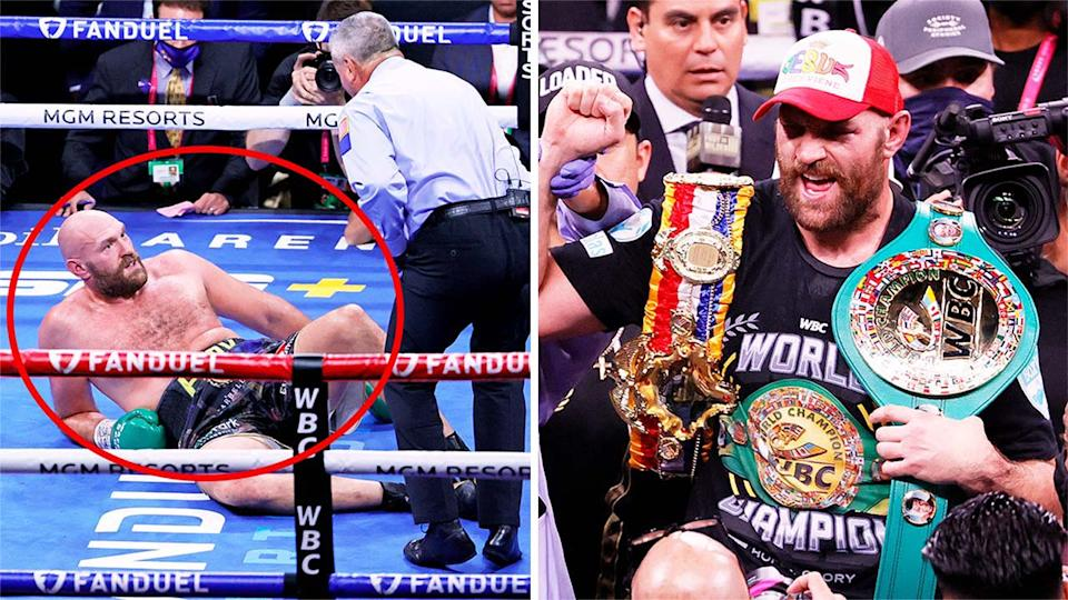 Tyson Fury (pictured left) on the floor after being was knocked down and (pictured right) celebrating after his win against Deontay Wilder.