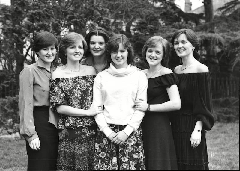 The Nolan Sisters: (L-R) Denise, Linda, Anne, Coleen, Bernie and Maureen  (Photo: Ted Blackbrow/ANL/Shutterstock)