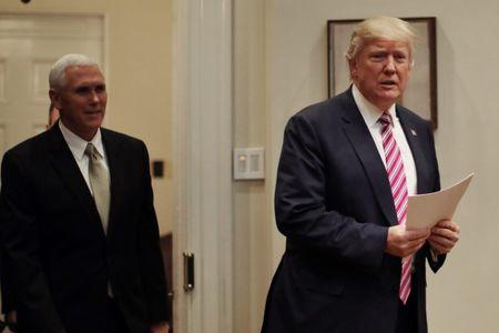 U.S. President Trump and Vice President Pence attend a healthcare meeting with key House Committee Chairmen at the White House in Washington