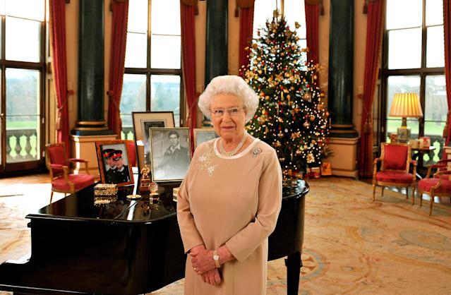 The Queen gave the 2008 message in the Music Room. (WireImage)