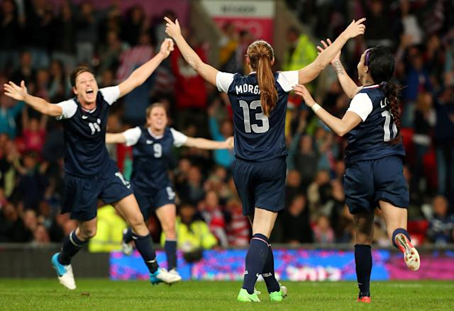 Morgan celebrating her legendary goal to beat Canada at the 2012 Olympics | Getty Images