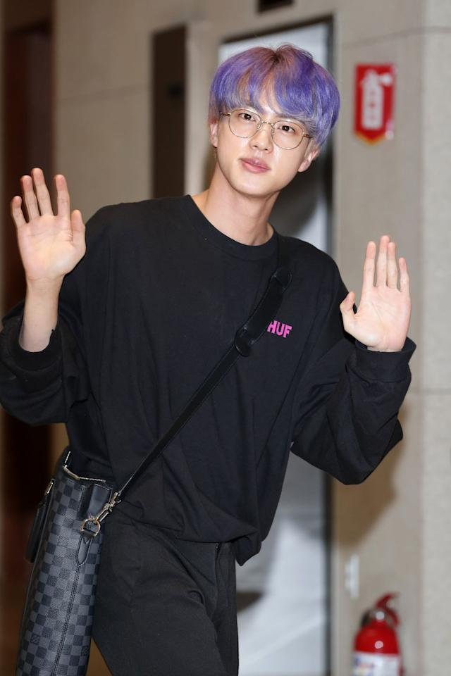 "<p>Jin recently dyed his hair this soft purple shade, which calls back to the phrase ""I purple you,"" a way ARMY members say ""I love you."" </p>"