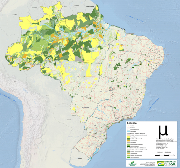 Map of Brazil with shaded areas in the Amazon