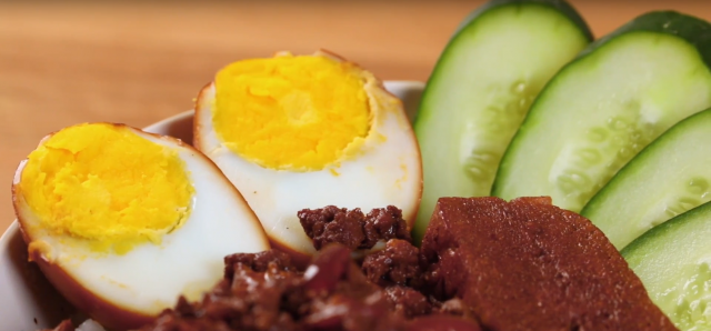 Serve the braised meat with warm rice, hard-boiled eggs, tau kwa and cucumber