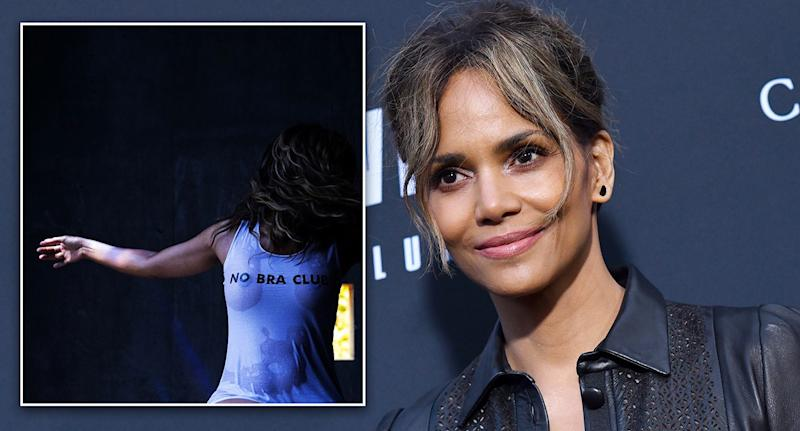"Halle Berry, 53, celebrated her birthday with a ""no bra"" post. [Photo: Instagram/Getty]"