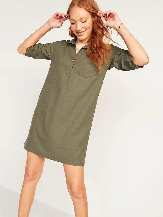 <p>When you want something a bit more tailored, this <span>Old Navy Linen-Blend Shirt Shift Dress</span> ($40) serves up a solid workplace 'fit.</p>
