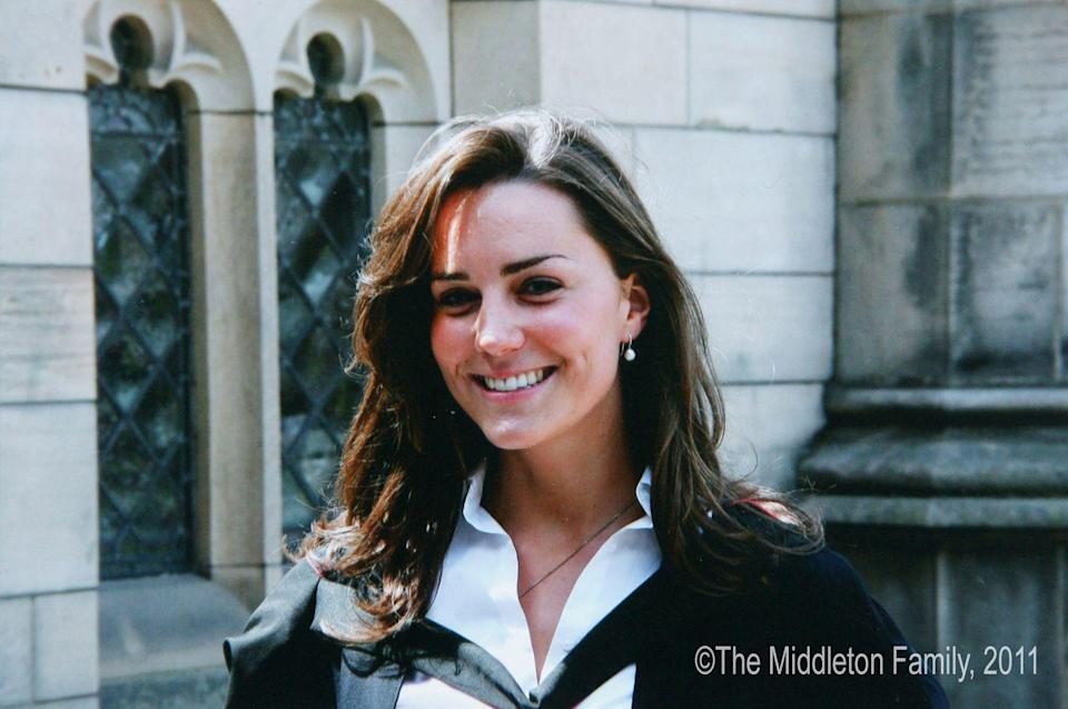 <p>Smiling on the day of her graduation from St. Andrew's in Scotland.</p>