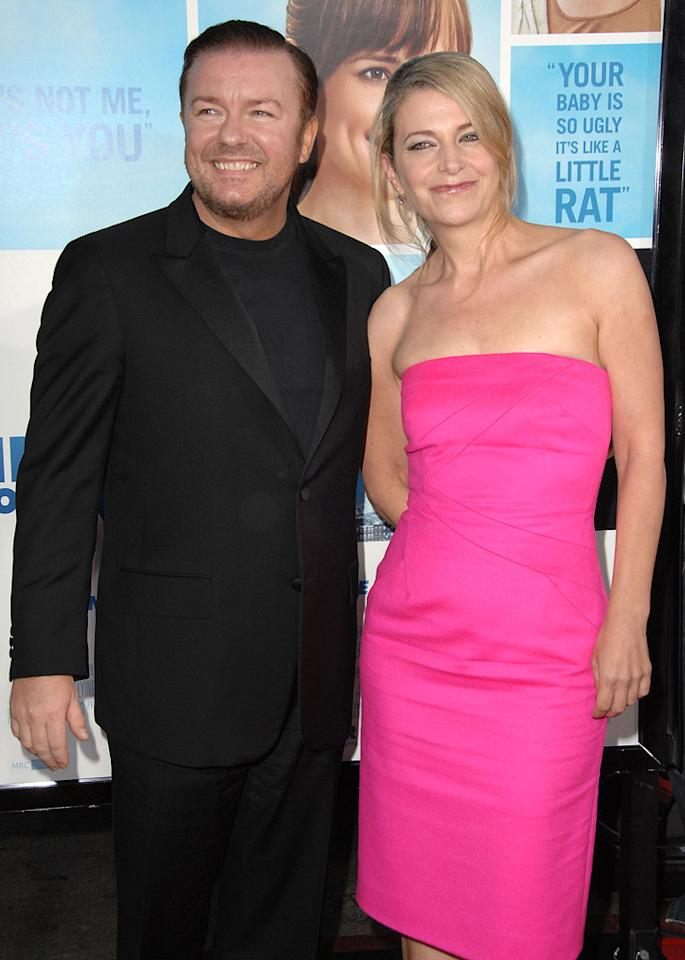"""<a href=""""http://movies.yahoo.com/movie/contributor/1808438269"""">Ricky Gervais</a> and Jane Fallon at the Los Angeles premiere of <a href=""""http://movies.yahoo.com/movie/1810022054/info"""">The Invention of Lying</a> - 09/21/2009"""