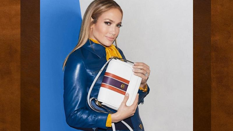 Coach's latest sale offers up to 50% off best-sellers, including the Rambler Crossbody with Varsity Stripe as modelled by Jennifer Lopez.