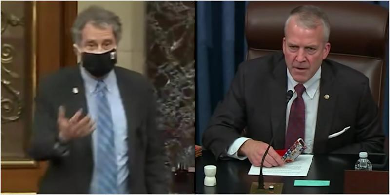 Video shows GOP Sen. Dan Sullivan and Democratic Sen. Sherrod Brown arguing after the Republican refused to wear a mask while speaking in the Senate