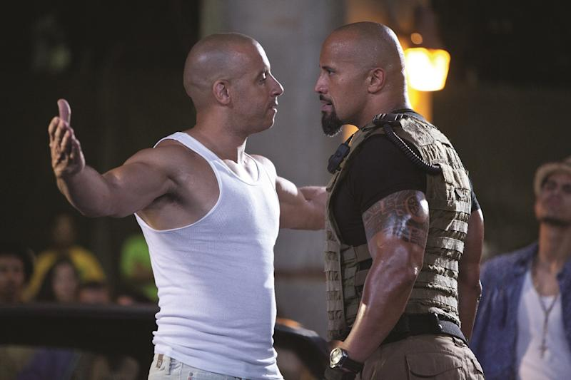 When Dom and Hobbs first butted heads in 'Fast Five' (credit: Universal)