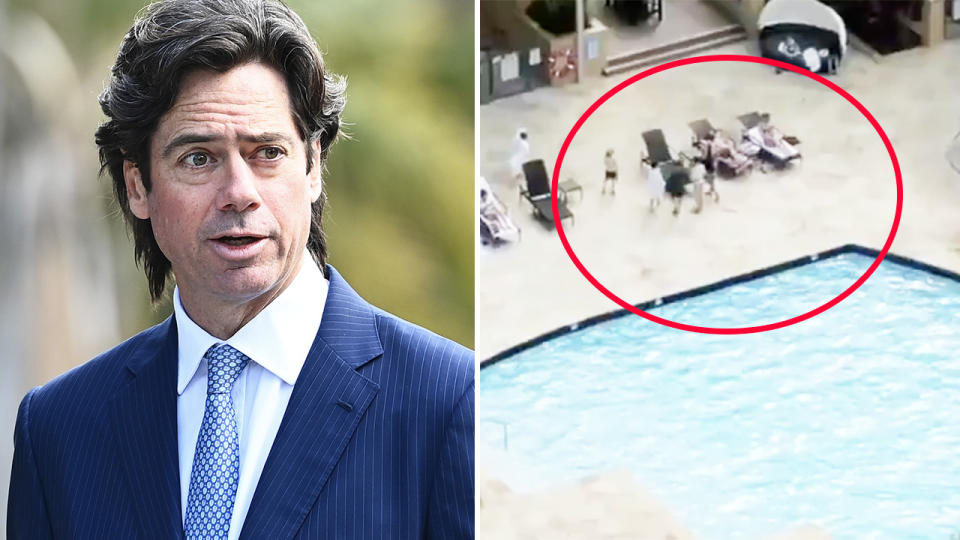 Gillon McLachlan, pictured here speaking to the media in Queensland.