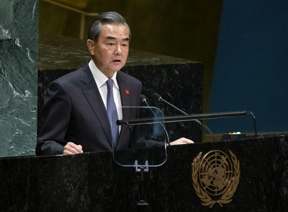 Chinese Foreign Minister Wang Yi addresses the 74th session of the United Nations General Assembly, Friday, Sept. 27, 2019, at the United Nations headquarters. (AP Photo/Craig Ruttle)