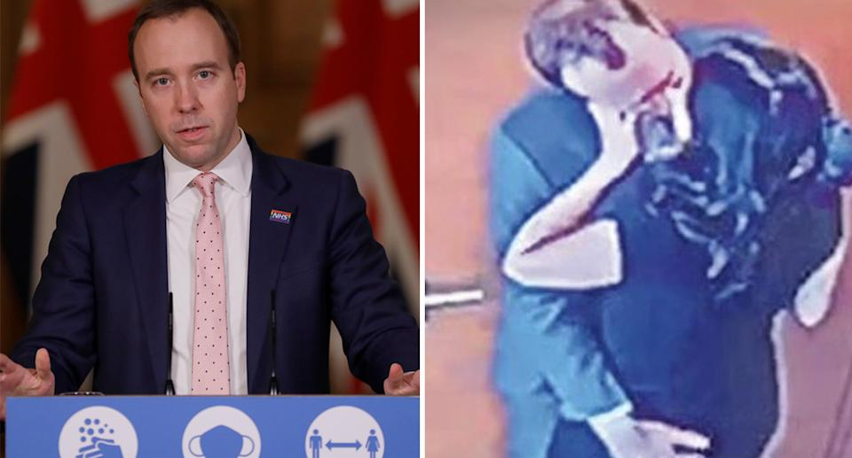 The country's Health Minister was brought down with a kiss captured on CCTV.
