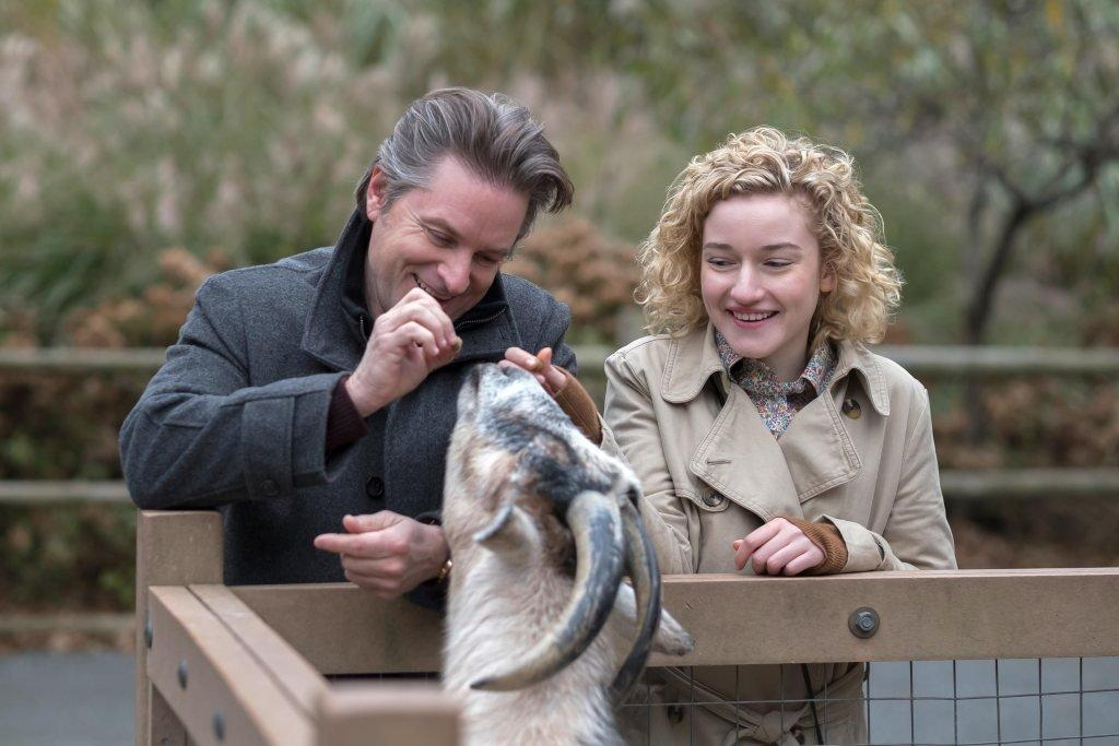"Our staff's least favorite vignette was nearly unanimous. The gag-inducing episode might as well be titled ""Daddy Issues"": Baby-voiced college student Maddy (Julia Garner), having lost her father at a young age, develops an unsettling attachment to a 55-year-old executive at work named Peter (Shea Whigham). ""Basically, he was dad porn,"" Maddy sighs in a disconcertingly dreamy voicover as she compares his handsome looks to her father's. It's funny at first, but the charm quickly wears. Obviously, Peter interprets her overtures as far from daughterly, even after she asks him to tell her a story while snuggling in bed after a dinner date ... ""about when I was little."" YIKES! The <a href=""https://www.nytimes.com/2006/01/22/style/modern-love-so-he-looked-like-dad-it-was-just-dinner-right.html"" target=""_blank"">real 2006 <em>Times</em> essay</a> doesn't include this cringeworthy line and actually ends after that strange night, but in the series, Maddy's obsession with Peter — and his half doting, half leering courtship in return — drags on and on. Oh, and there's a rather ham-fisted <em>Little Red Riding Hood</em> reference."