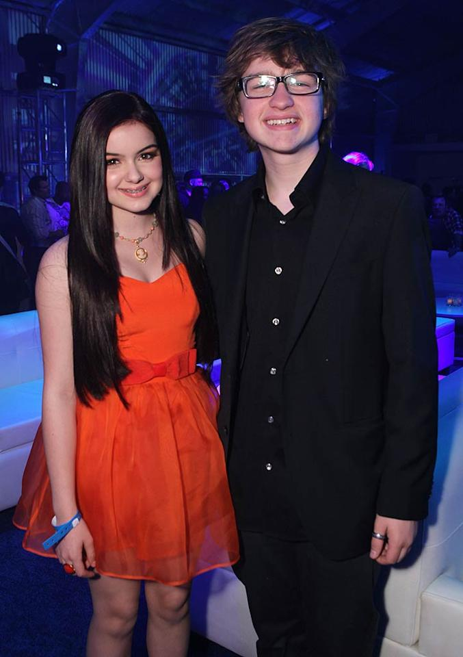 """Kid actors unite! Thirteen-year-old """"Modern Family"""" star Ariel Winter joined the 'half"""" in """"Two and Half Men,"""" Angus T. Jones, 17. Wonder what Angus thinks about his new castmate, Ashton Kutcher, who'll be replacing the troubled Charlie Sheen on the popular sitcom ... Chris Weeks/<a href=""""http://www.wireimage.com"""" target=""""new"""">WireImage.com</a> - May 12, 2011"""