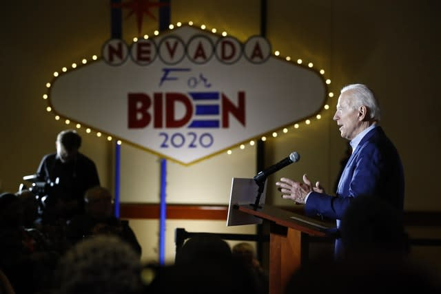 Joe Biden speaks at a campaign event in Las Vegas