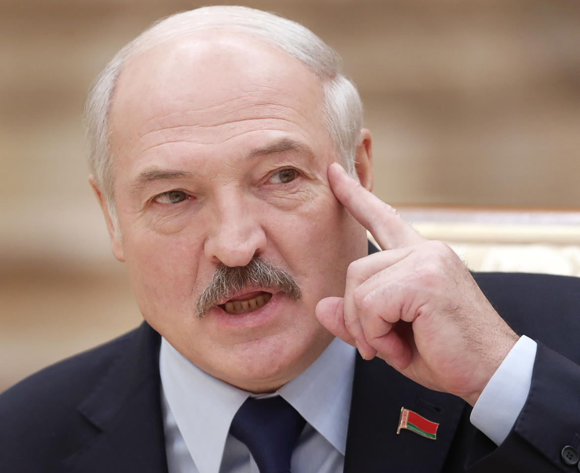 Belarusian President Alexander Lukashenko speaks during a news conference in Minsk, Belarus, Friday, Dec. 14, 2018. (Vasily Fedosenko/Pool Photo via AP)