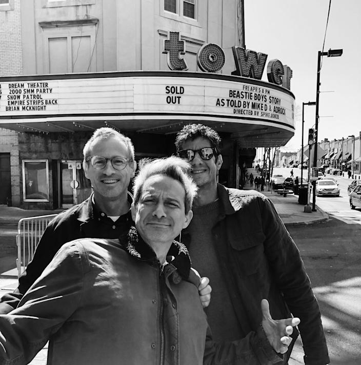 "Spike Jonze, Adam Horovitz and Mike Diamond outside the live show rehearsals for the ""Beastie Boys Story."""