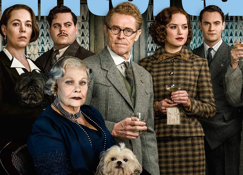 L-R: Olivia Colman, Josh Gad, Judi Dench, Willem Defoe, Daisy Ridley, Tom Bateman (credit: 20th Century Fox/Entertainment Weekly)