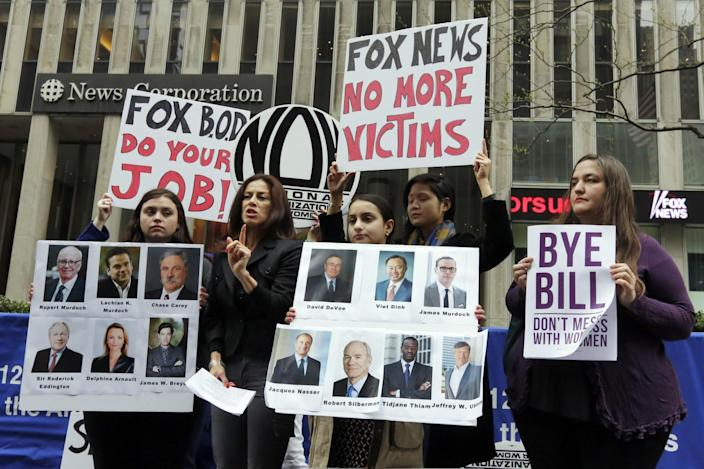 Sonia Ossorio, second left, president of the National Organization for Women New York, speaks outside the News Corporation headquarters in New York, April 20, 2017, a day after Fox News Channel's Bill O'Reilly was fired. (Photo: Richard Drew/AP)