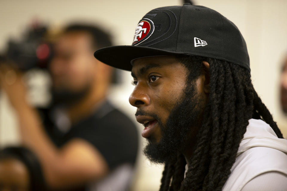 """Richard Sherman did not sugar coat his feelings for Jerry Jones, calling out the Cowboys owner for his """"old plantation mentality"""" on Monday. (AP)"""