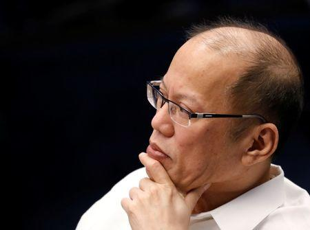 Former Philippine's President Benigno Aquino III listens during a senate hearing on the anti dengue drug Dengvaxia at the Philippine senate in Pasay city, Manila