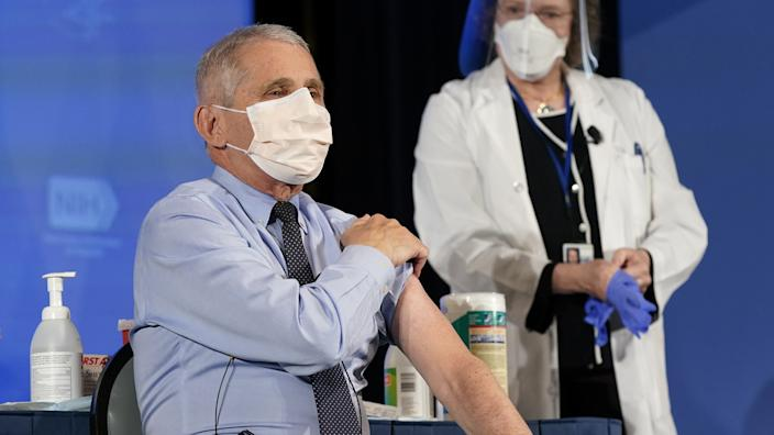 Anthony Fauci before receiving Moderna's COVID-19 vaccine in Bethesda, Md., on Tuesday. (Patrick Semansky/Associated Press/Bloomberg via Getty Images)